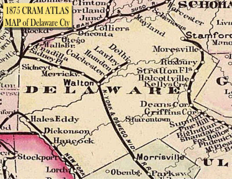 1875 CRAM ATLAS - Map of Delaware County