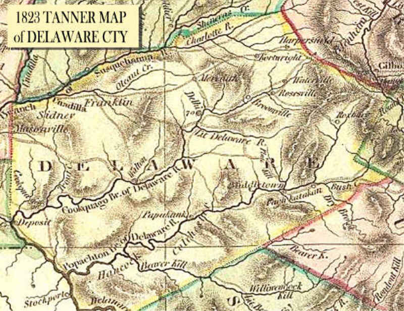 1823 Tanner Map Of Delaware County  Delaware County NY