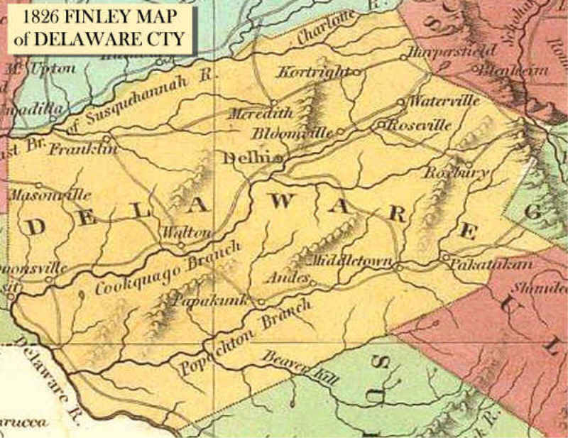 1826 Finley Map Of Delaware County  Delaware County NY