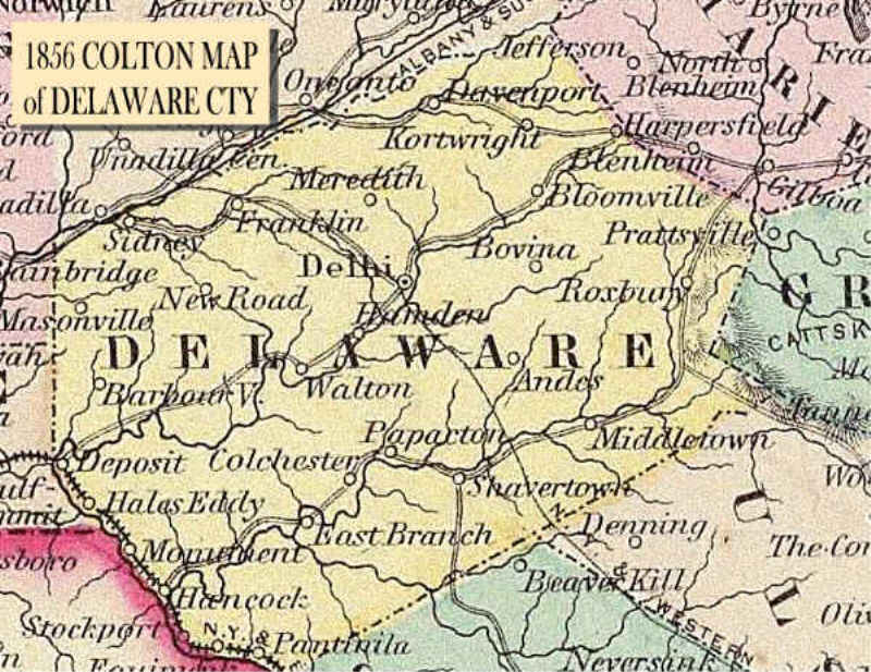 1856 Colton Map of Delaware County