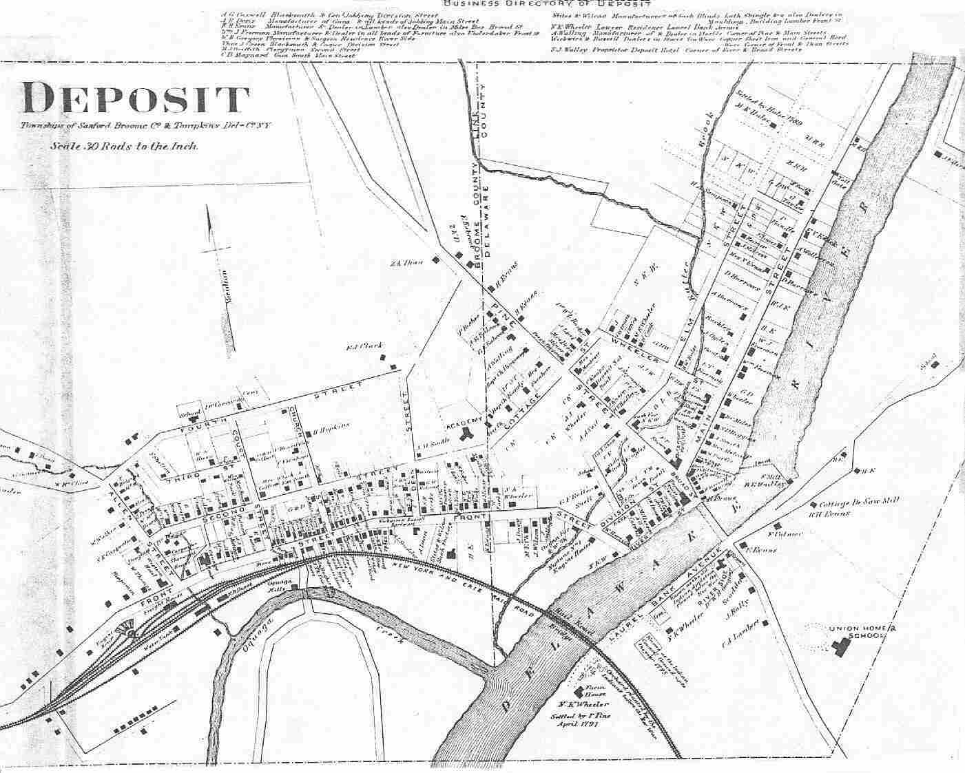 TOWN OF DEPOSIT - 1869 Map of Village of Deposit, Delaware Countydeposit village