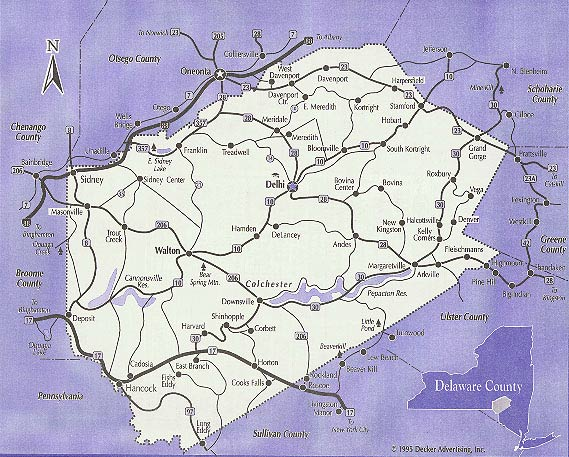 Delaware County New York Map