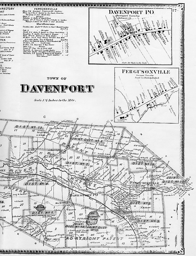 Beers Map of Town of Davenport - Right Section