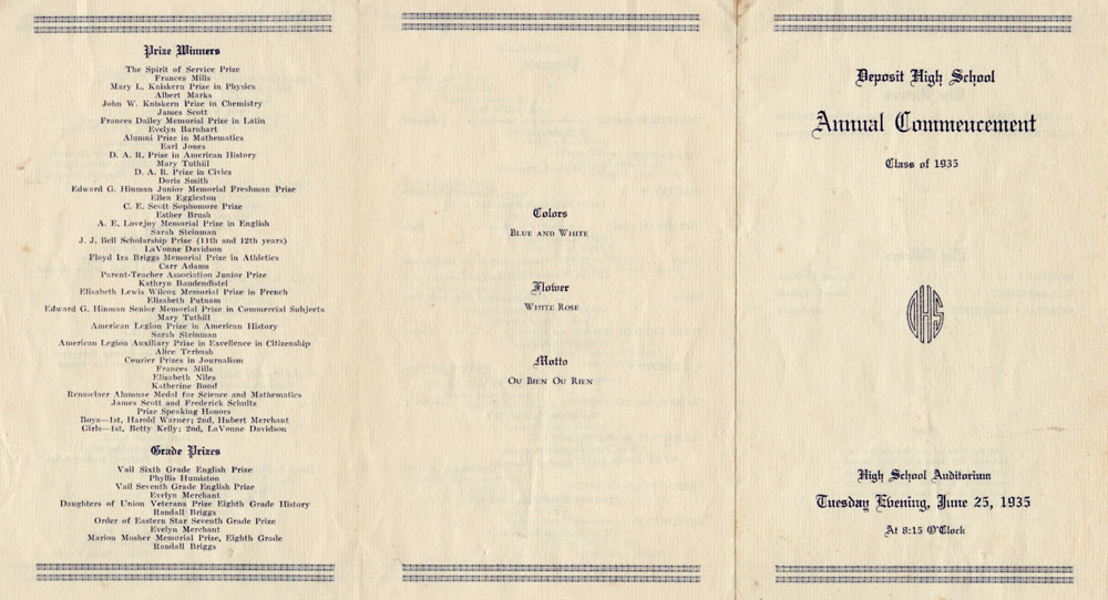 1935 Deposit High School Commencement Program