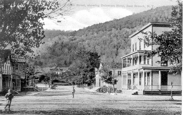 Main Street showing Delaware Hotel, East Branch, NY
