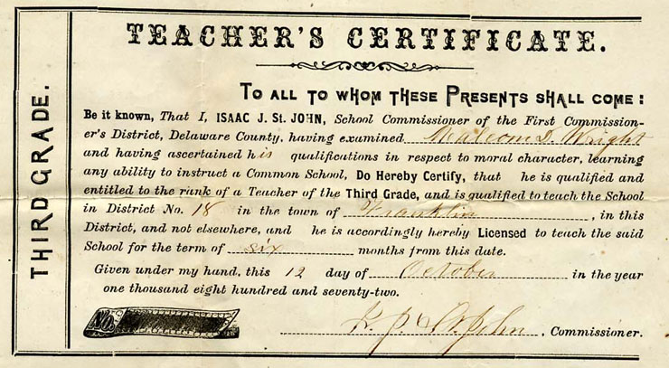 Teacher's Certificate - Town of Franklin 1872