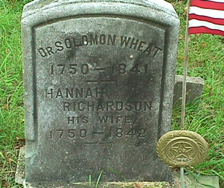Tombstone of Dr. Solomon Wheat and Hannah Richardson