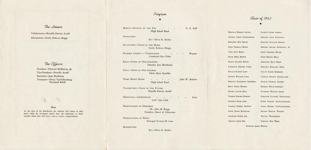 1942 Deposit Central School Commencement Program