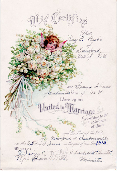 Couse Wedding Certificate