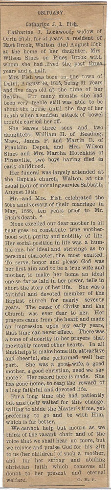 obit of Catherine J L Pierce Fish